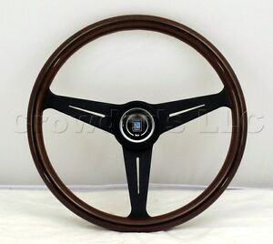Nardi Classic Wood Steering Wheel 390mm Mahogany Wood Black Spokes Kba Abe 70065
