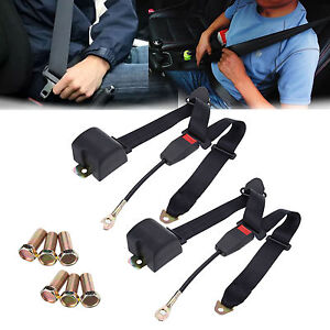 2x 3 Point Safety Adjust Car Seat Belt Lap Shoulder Adjustable Universal