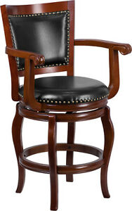 26 High Cherry Wood Counter Height Stool With Black Leather Swivel Seat