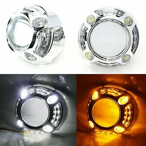 3 0 H1 Bi Xenon Projector Lens W Porsche Style 4 Led Drl Shroud For Headlights