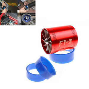 Red Cold Air Intake Turbo Supercharger Double Turbine Fan Turbonator Universal