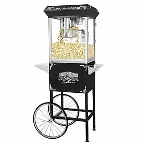 New Great Northern Popcorn Lincoln Full Popper Antique Machine Cart 8 Oz Kettle