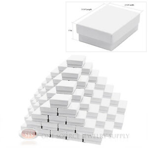 100 White Gloss Cotton Filled Gift Boxes 3 1 4 X 2 1 4 Jewelry Box