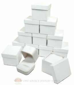 12 Piece White Leather Metal Ring Jewelry Gift Boxes 2 X 2 3 8 X 1 3 4