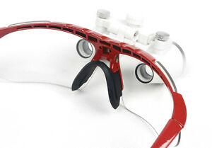 Red Dental Surgical Magnification Binocular Loupes 3 5x 420mm Optical Glass Fda
