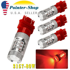 4 Pcs Red 3157 3156 High Power 80w Non Polarity Led Tail Brake Stop Light Bulbs