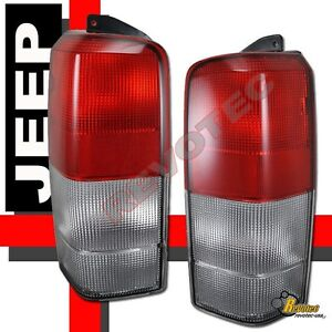97 01 Jeep Cherokee Red Clear Tail Lights Lamps 1 Pair 98 99 00