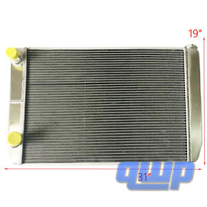 Ford Mopar Universal Aluminum Racing Radiator 2 Row Double Pass 31 X19 X3