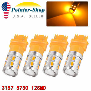 4x 3157 3156 Amber Yellow High Power 10w Led Turn Signal Sider Marker Light Bulb