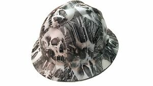 Hydrographic Toxic Skull Msa V guard Full Brim Hard Hat