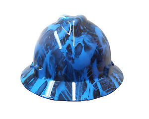 Hydrographic Blue Toxic Skull Msa V guard Full Brim Hard Hat