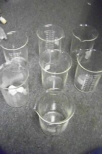 Pyrex 1000 1000 Glass Low Form Graduated Beaker Lot Of 7