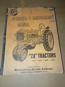 1952 53 54 Minneapolis moline Za Zau Zas Zae Zan Tractor Oper maintenence Manual