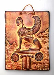 Ancient Greek Ceramix Wall Plaque Of Sphinx Griffon Patine Collectable 2525