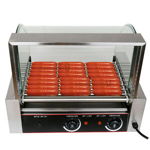 1260w Commercial 24 Hot Dog Hotdog 9 Roller Grill Cooker Machine W Cover Store