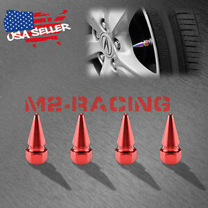 4pcs Red Long Spike Valve Stem Caps Metal Thread Set For Wheel Tires Tvc17