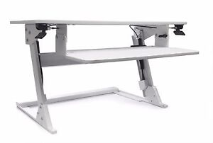 White Volante Sit Stand Desk Top Workstation By Systematix