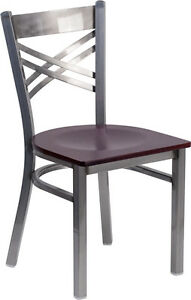 Lot Of 20 Clear Coated x Back Metal Restaurant Chair Mahogany Wood Seat