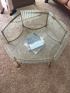 Weiman Brass And Glass Table