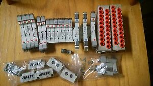 Lot 18 Of Assorted Smc Solenoid Valves And Manifolds