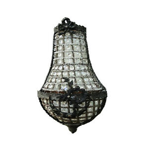 European Crystal Antique Replica Small Wall Sconce Light Fixture Chateau Mansion