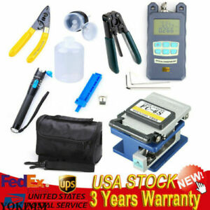 10 in 1 Fiber Optic Ftth Tool Kit Fc 6s Cutter Fiber Cleaver Optical Power Meter