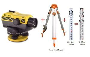 Bosch Cst berger Sal20nd 20x Auto Level W Dome Head Tripod 16ft Rod Package