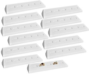 Lot Of 12 White Leatherette 5 Slots Ring Display Stand Showcase Display Stand