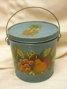 Vintage Hand Painted Bucket Country Decoration Fruit Leaves Slate Blue