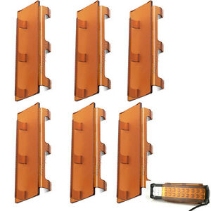6x 8 Snap On Amber Cover For 50 Double Row Led Work Light Bar Lamp Suv