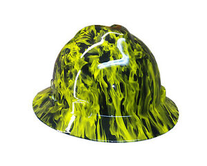 Hydrographic Yellow Fire Msa V guard Full Brim Hard Hat