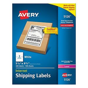 Avery Internet Shipping Labels With Trueblock Technology For Laser Printers X Of