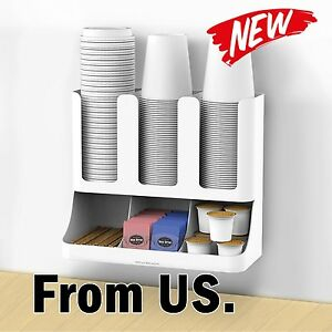 Cups Lids Organizer Condiment Dispenser Holder Station Tree Pod Office White