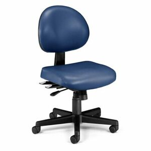 Ofm 24 Hour Faux Leather Swivel Office Chair In Navy