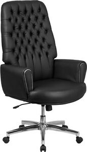 Conference Table High Back Tufted Black Leather Executive Swivel Chair