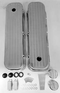 Big Block Chevy Tall Valve Cover Ball Milled Aluminum 396 454 Breather Pcv Combo