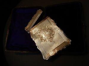 Victorian Silver Visiting Card Case Maker S Mark Cc Birmingham 1873