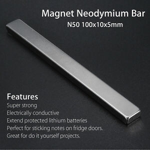 100x10x5mm Strong Big Block Strip Cuboid Magnet Rare Earth Neodymium Bar N50