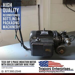 Teco 3hp 3 Phase Induction Motor With Goulds Sanitary Wine Pump Cart Mounted
