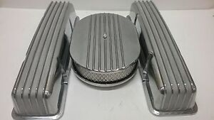 Small Block Chevy Aluminum Valve Covers Air Cleaner Tall Finned No Holes Sbc 350