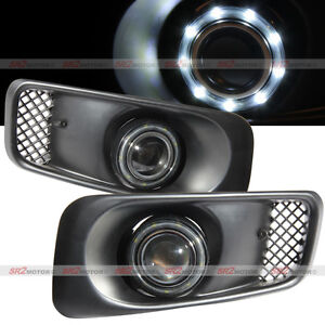 White Smdx9 Led Drl Halo Angel Eyes Projector Fog Lights Kit Fits 99 00 Civic