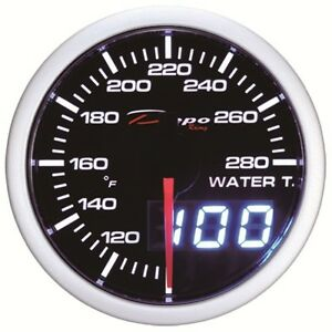 52mm Depo Racing Duel View Digital Water Temperature Gauge White Red Wa5237led