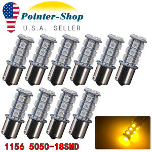10x Amber Yellow 1156 5050 18 Smd Led Turn Signal Light Bulbs 1073 1141 7527 12v