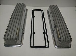 Small Block Chevy Tall Finned Aluminum Valve Covers No Holes Gaskets 305 327