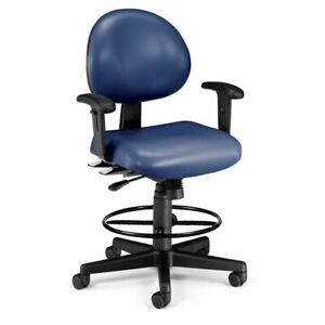 Ofm 24 Hour Faux Leather Swivel Drafting Stool In Navy