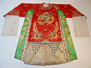 20th C Republic Period Chinese Silk Embroidered Dragon Theater Opera Robe