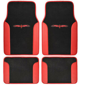 Red Black Full Car Carpet Floor Mats Set Extra Thick Carpet Backing 4pc