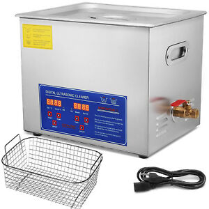 Ultrasonic Cleaner 10 L Liter Stainless Steel Industry Heated Clean Glasses