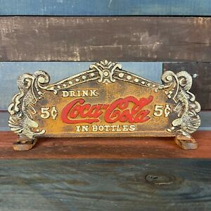 Coca-Cola Fountain Service Register Sign Dual Sided Cast Iron, Antique Finish