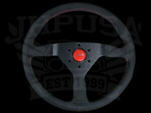 Momo Steering Wheel Monte Carlo 350mm Black Alcantara Suede W Red Stitch